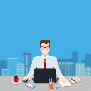 Businessman on workplace over modern city