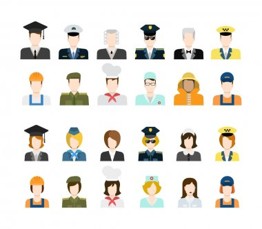 Set of people workers in uniform icons