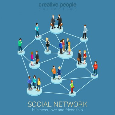 Social network  isometric infographic concept