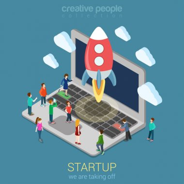 Startup launching process concept