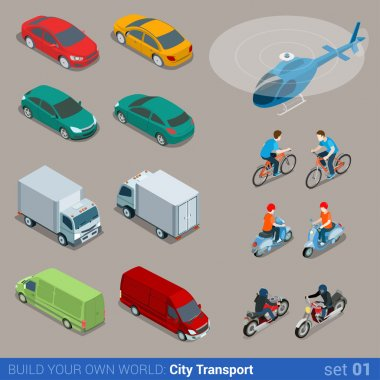 city transport icon set.