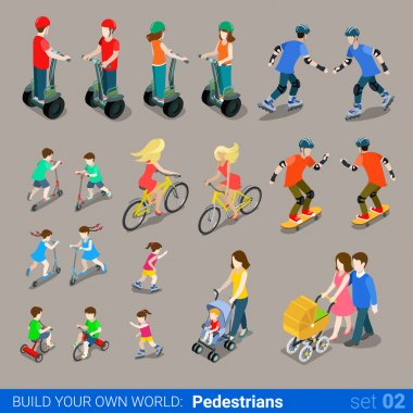 city pedestrians on wheel transport