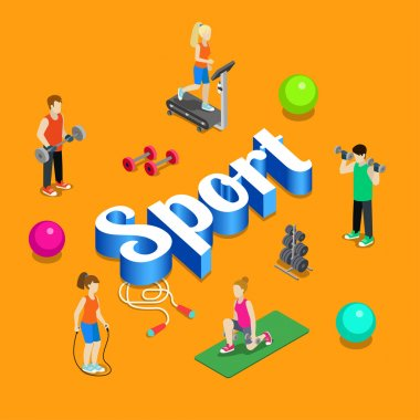 Sport gym modern lifestyle flat 3d web isometric infographic vector. Young joyful micro male female crowd group sports workout exercise yoga athletics on huge letters. Creative people collection. stock vector