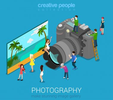people on DSLR photo camera
