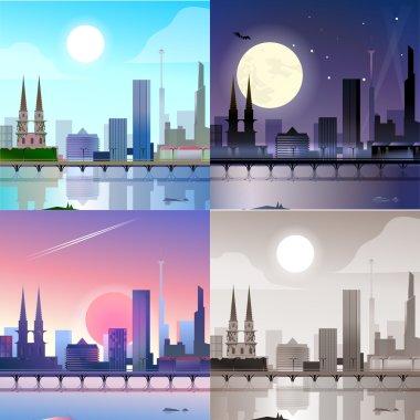 Flat modern city scape