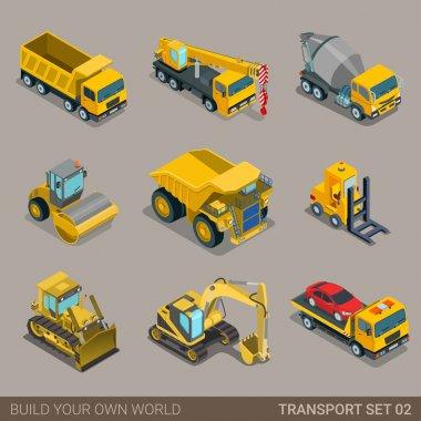 construction transport icon set.