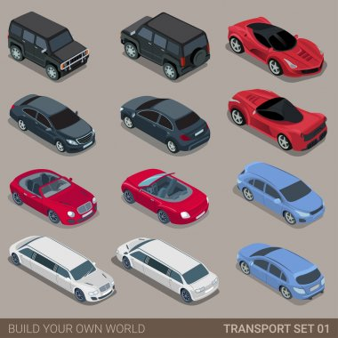 Flat 3d isometric high quality city transport icon set. Car sportscar SUV lux high class sedan limousine limo convertible cabrio. Build your own world web infographic collection. stock vector