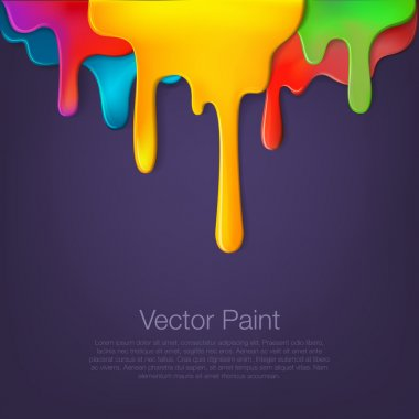 Multicolor paint dripping on background.