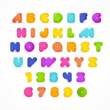 ABC stylish rounded gummy lettering