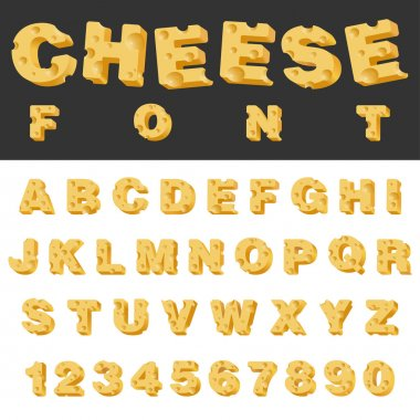 Cheese letters and numbers latin font.