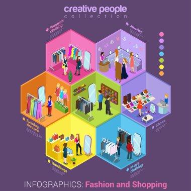 isometric fashion shopping mall