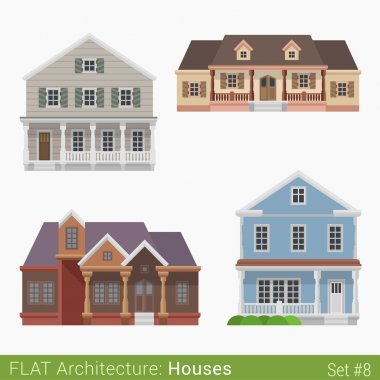 Flat style modern countryside houses