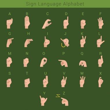 Sign deaf language hand gestures