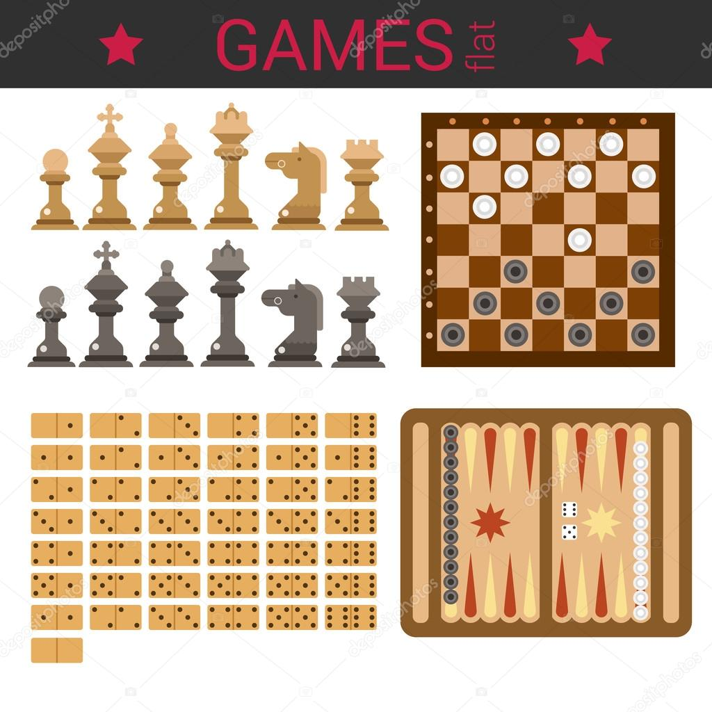 Schach Figuren, Dame, Domino, backgammon — Stockvektor © Sentavio ...