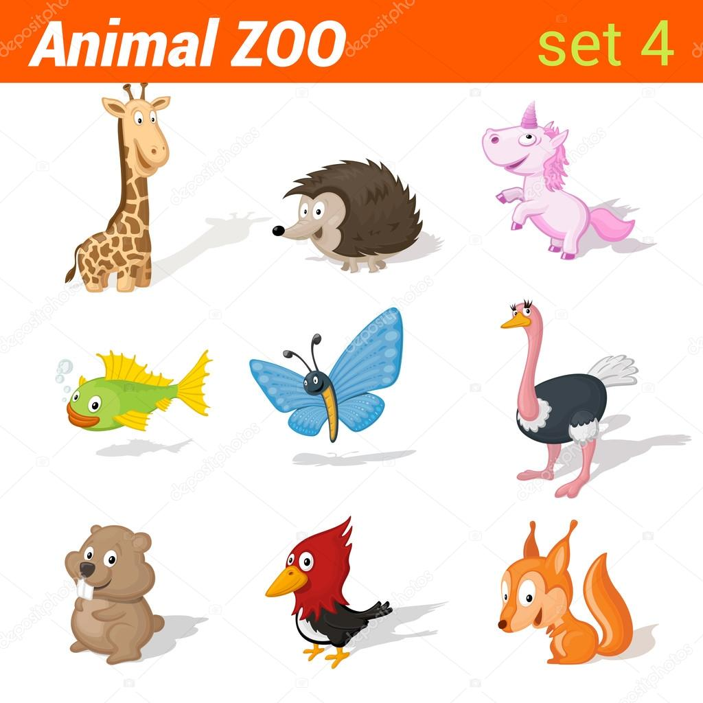 Funny children animals icons set.