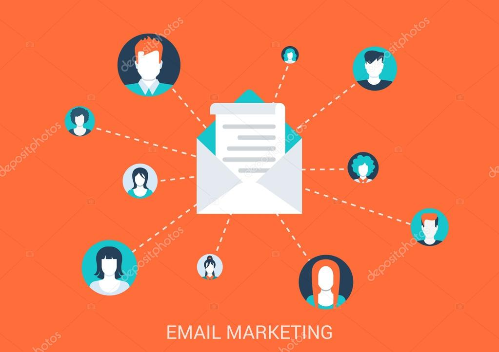 Flat style email marketing concept.