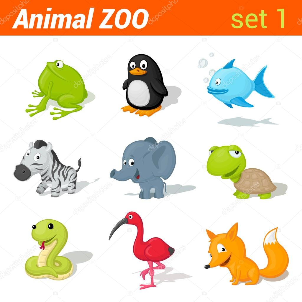 Funny animals icon set.
