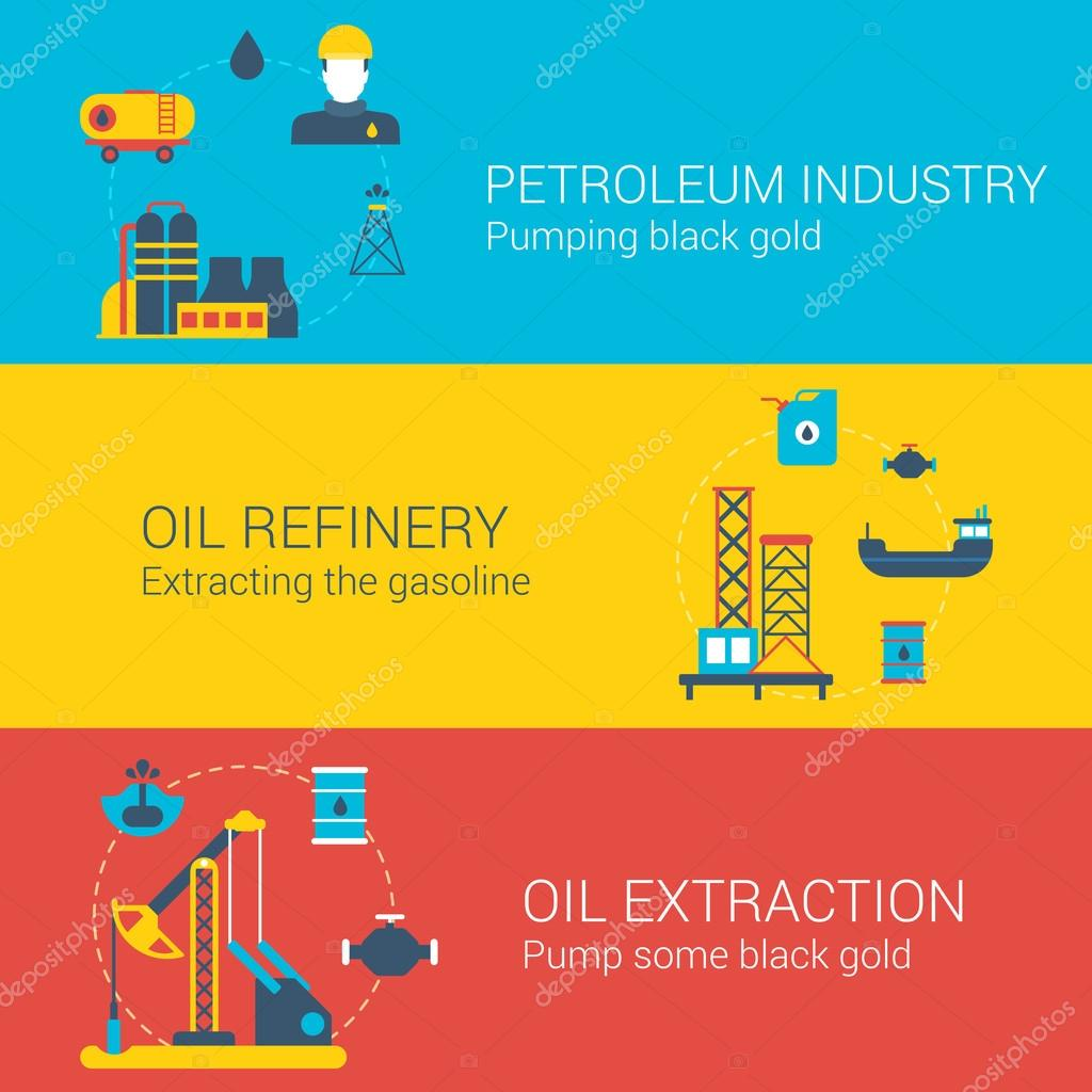 Oil power concept flat icons