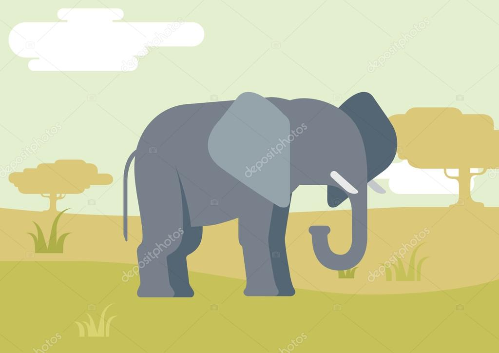 Elephant in savanna flat design