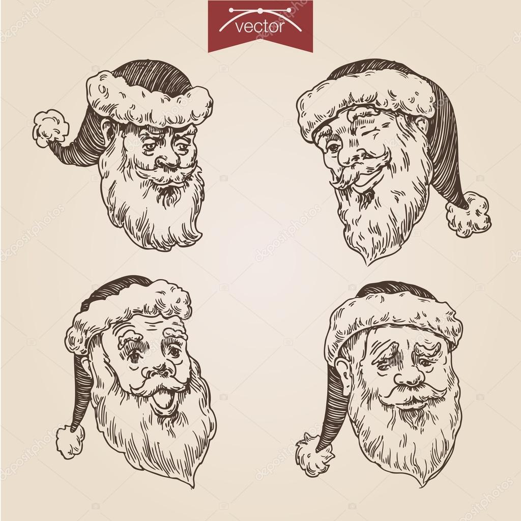 Christmas Santa emotional head set — Stock Vector © Sentavio #83133634