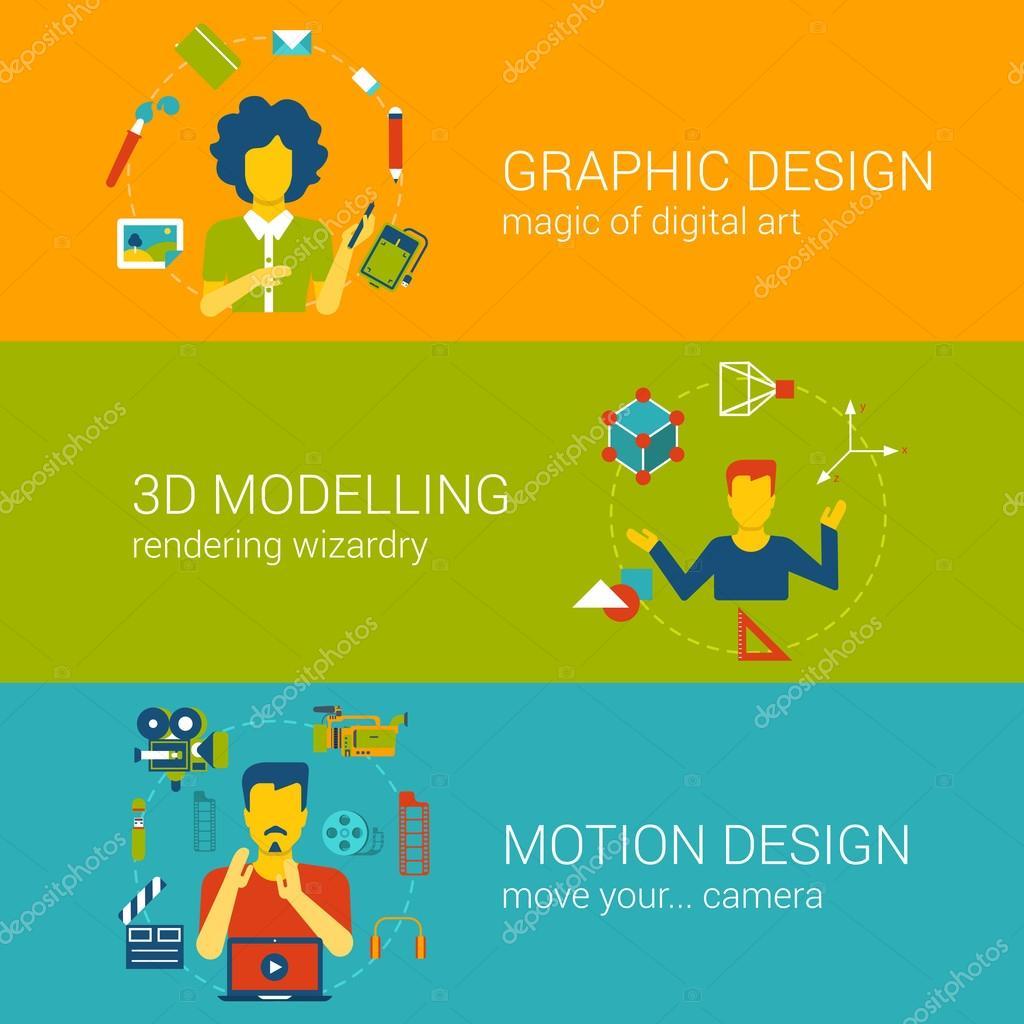 Design process professions templates set — Stock Vector