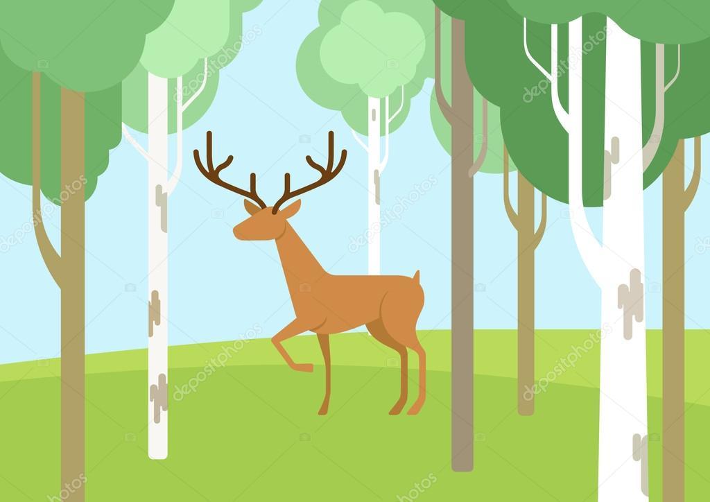 Deer in the birchwood forest flat design