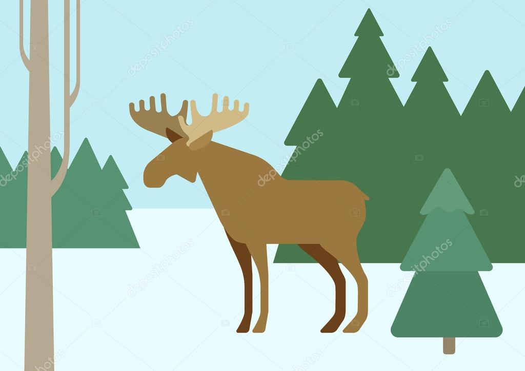 Elk in winter forest , flat design