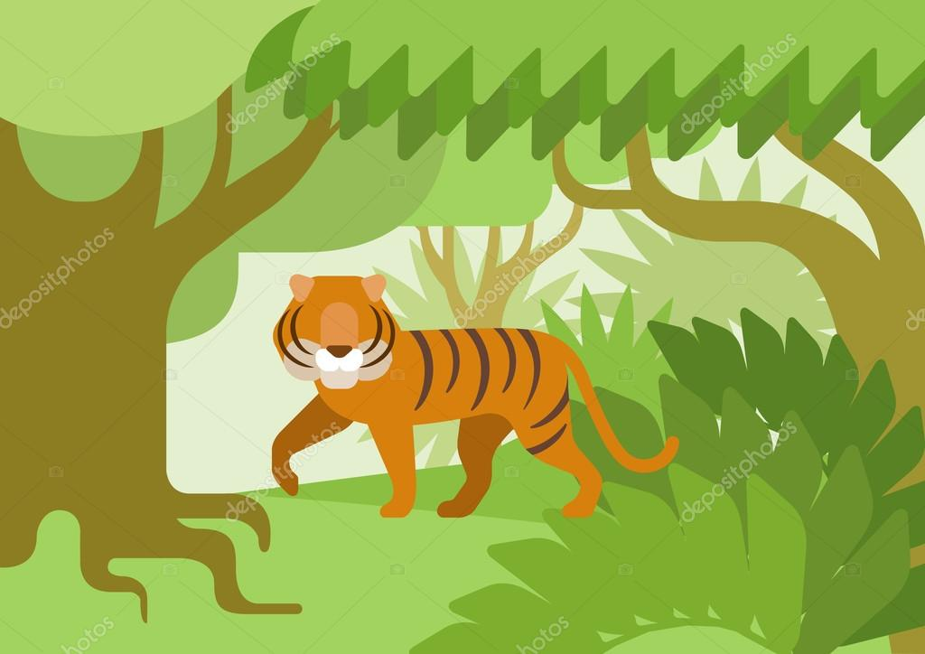 Tiger in the jungle, flat design cartoon