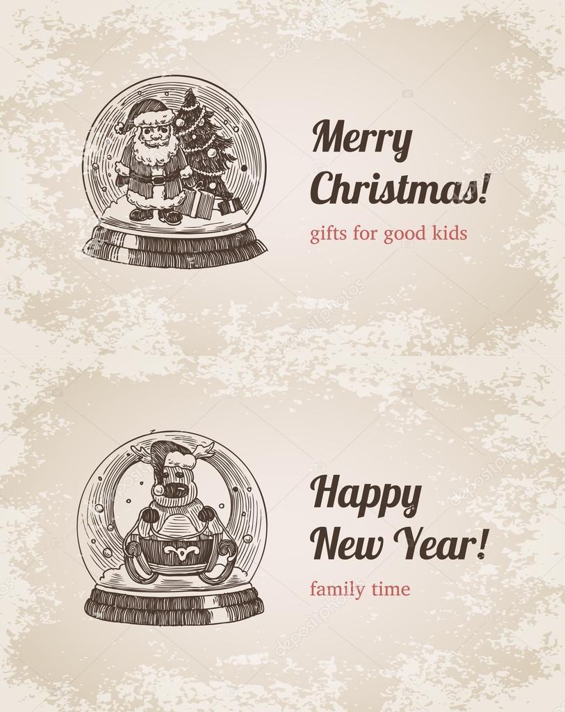 Chrystal Aufruf Santa Elch legen Neujahr handgezeichneten Stil ...