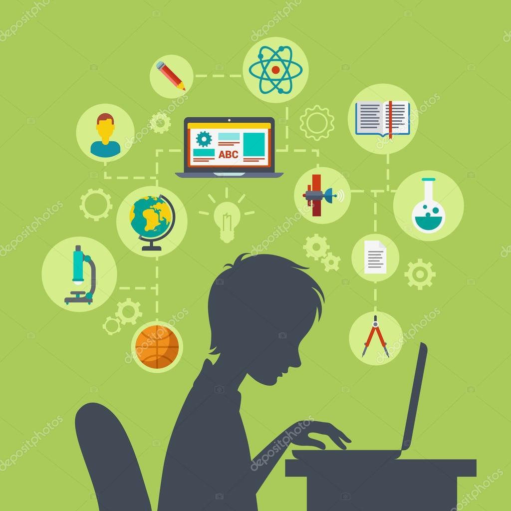 school boy silhouette with laptop