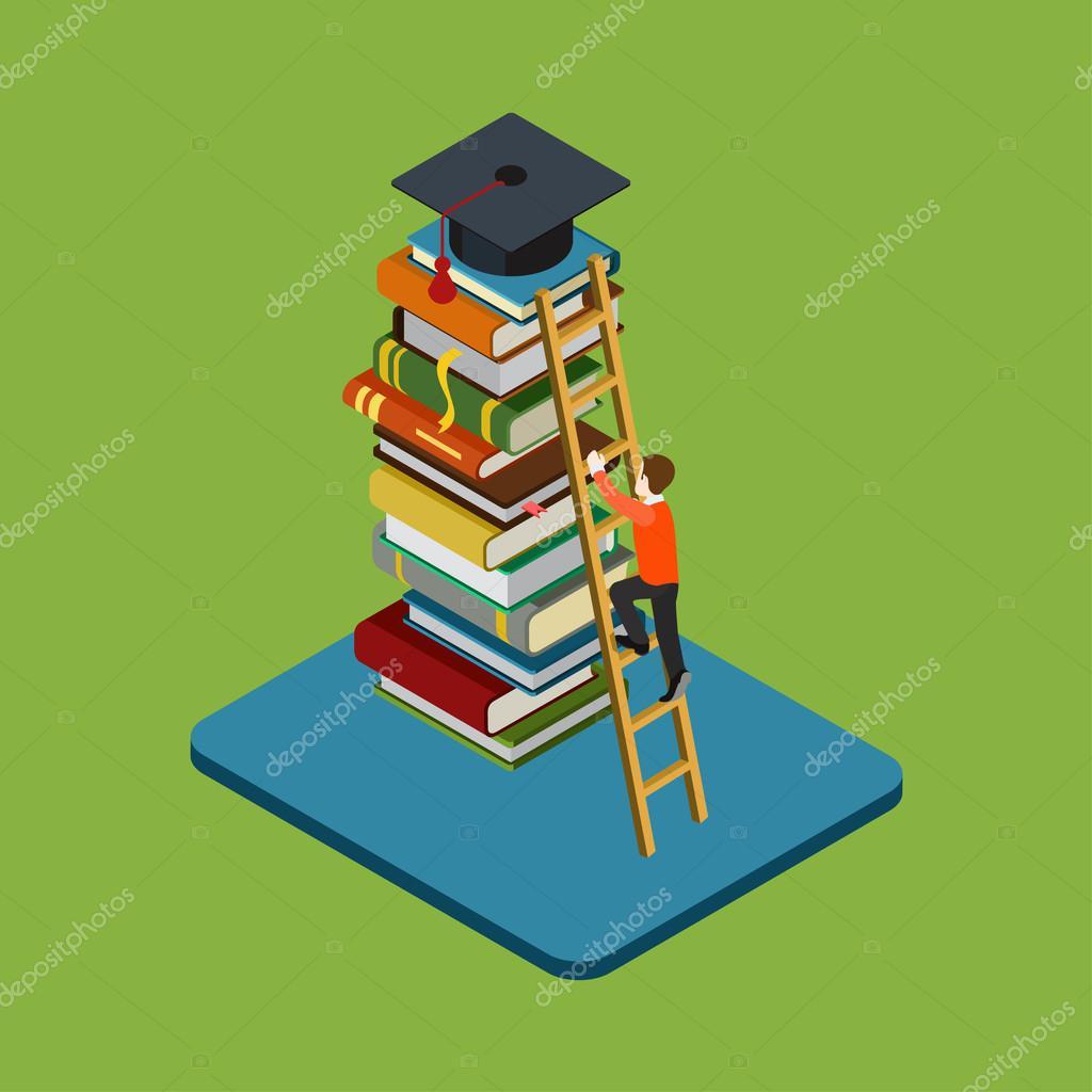 Man climbs on ladder over  books