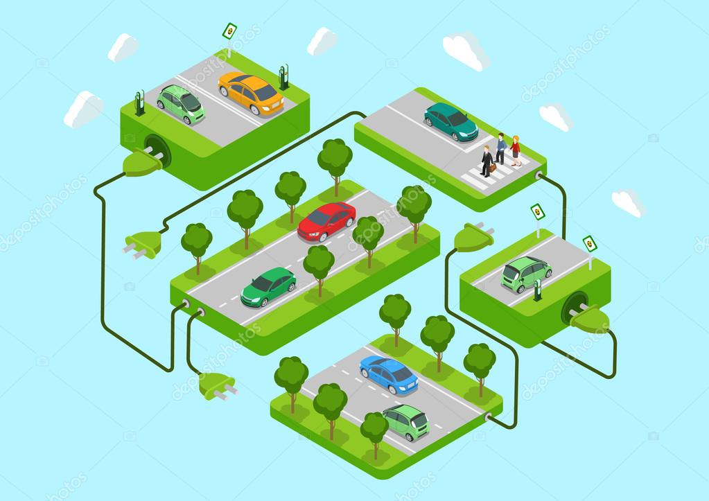 Electric cars infographic concept v