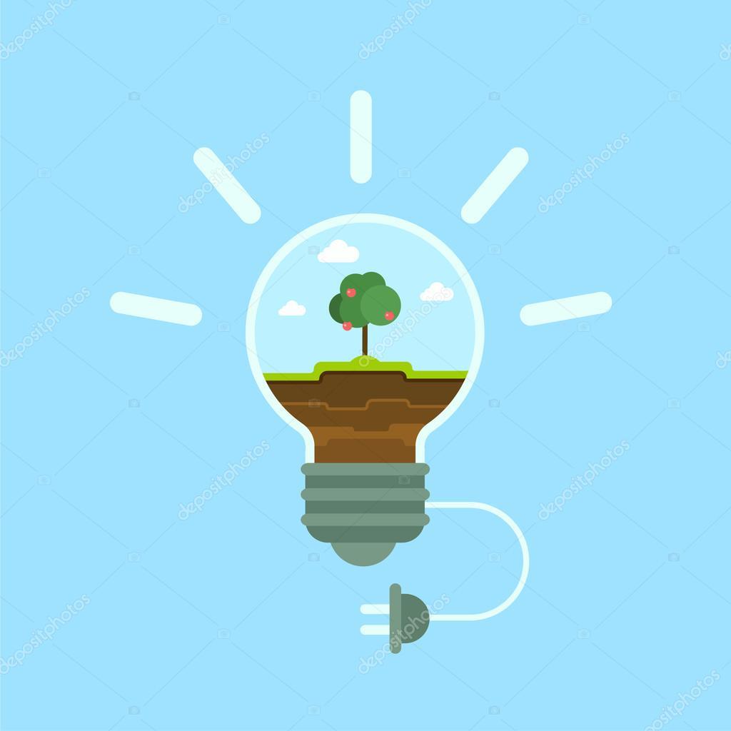 Flat ecology green energy template