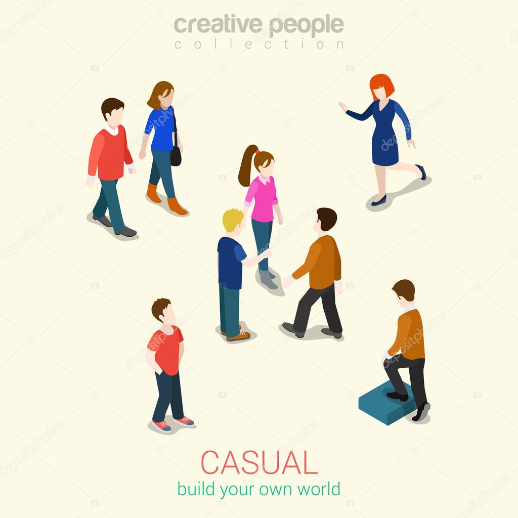 Casual people  isometric infographic concept