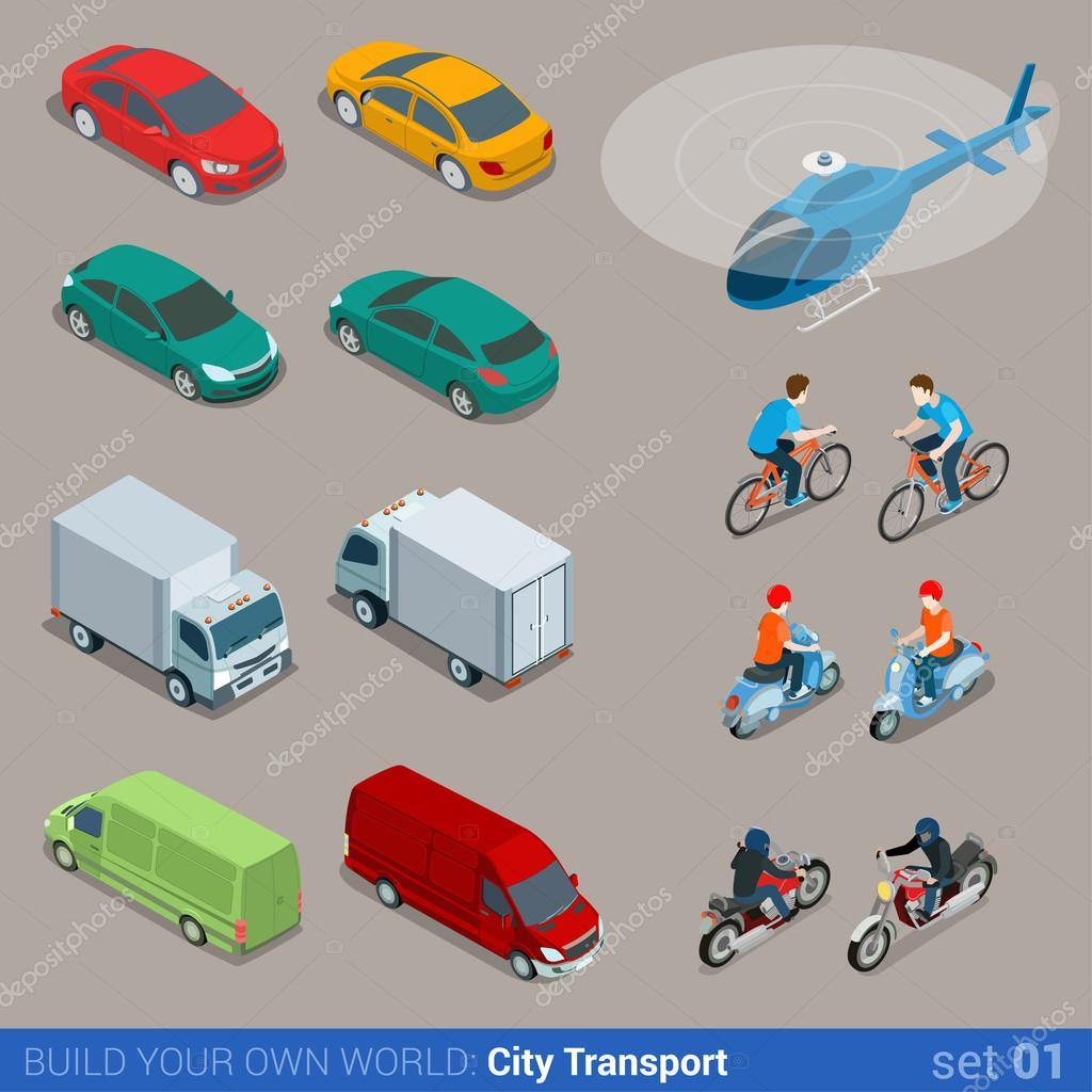 City transport icon set.