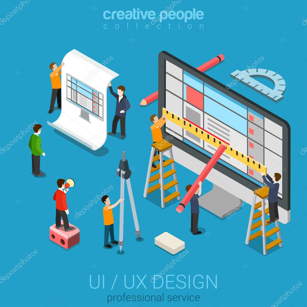 desktop UI/UX design web infographic