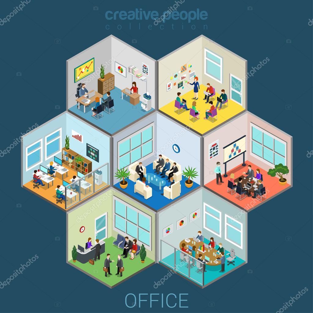 Flat isometric office interior room