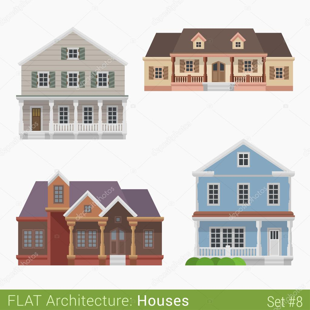 flat style modern buildings countryside suburb houses set city design elements stylish design architecture real estate property collection