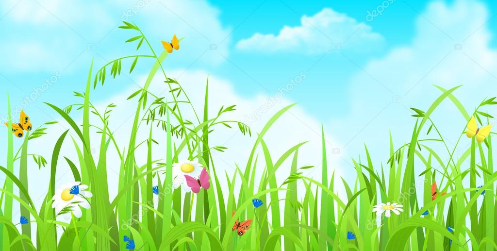 Fresh grass lawn background sentavio 83139842 nice shiny fresh butterflies flowers grass lawn background with clouds sky nature spring summer backgrounds collection sentavio voltagebd Images