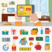 online shopping concept icon set.