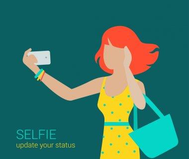girl making Selfie  on smartphone