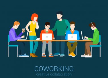 Coworking group of people by the table