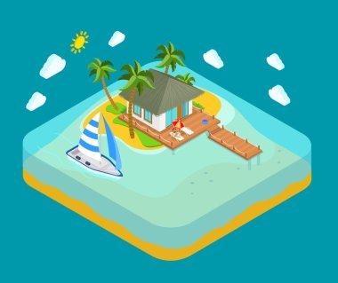 Life on tropic island  travel concept.