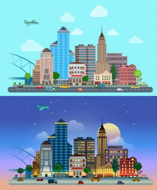 Flat cartoon city set