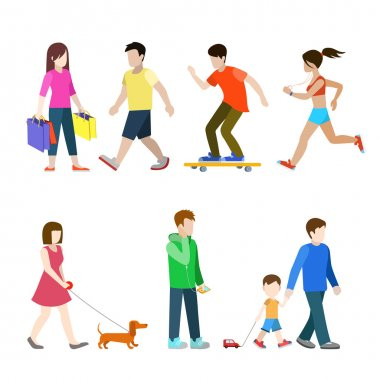 city pedestrians icon set.
