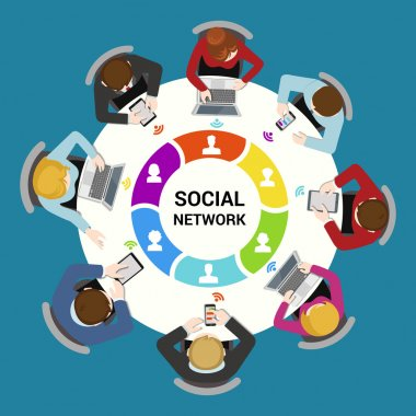 Social network usage concept.
