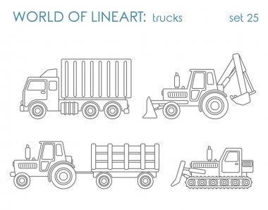 Construction municipal transport hipster set.