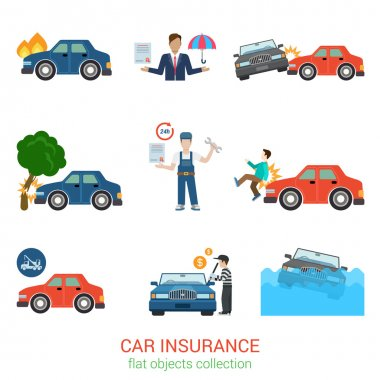 Flat style icons of car insurance