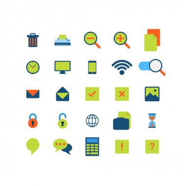 Flat style of app interface icons