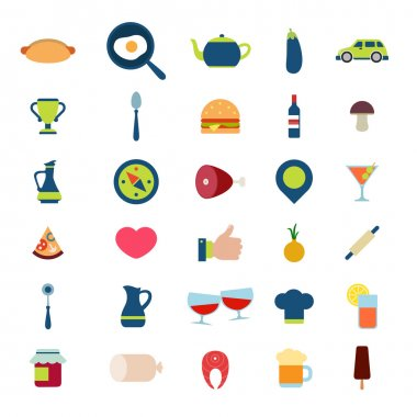 Flat style of restaurant app icons